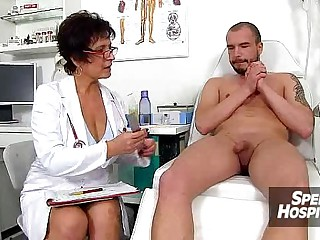 CFNM handjob readily obtainable hospital feat. stockings lass Danielle