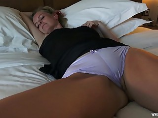 Horny fuck on touching sleeping Mom