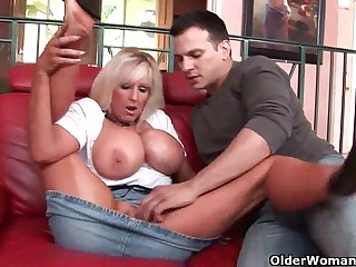 Mom just about huge tits gets cum coating