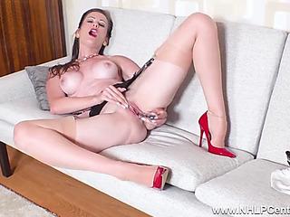 Dark Brown mother i'd like to fuck undresses off masturbates in stockings garters heels