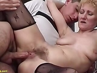 extreme skinny mature in sexy nylon stockings gets rough hairy bush banged by her immature toyboy
